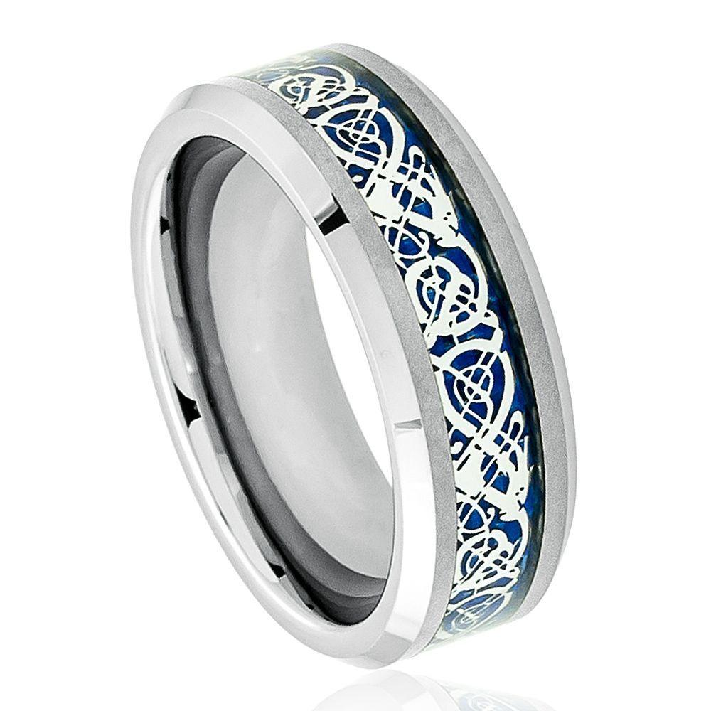 Shiny Beveled Edge with Blue Celtic Dragon Cut-out Inlay - 8mm