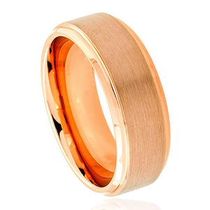 Rose Gold IP Plated Flat Brushed Center Stepped Edge - 8mm
