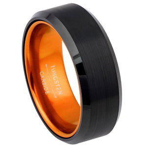Black Plated Beveled Edge with ORANGE Anodized Aluminum Sleeve - 8mm