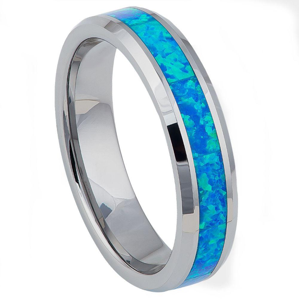 Synthetic Blue Green Opal Inlay Beveled Edge - 6mm