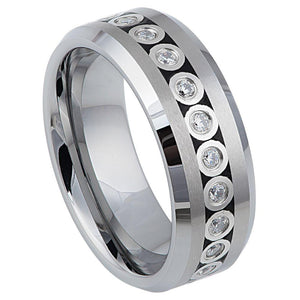 Bezel Set CZ Eternity Beveled Edge - 8mm