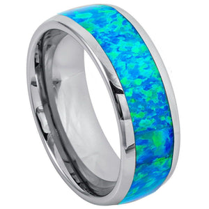Synthetic Blue Green Opal Inlay Dome - 8mm
