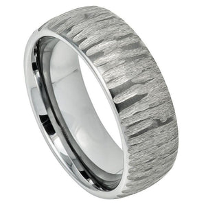 Semi Domed Ring with Tree Bark Carved Textured Finish - 8mm