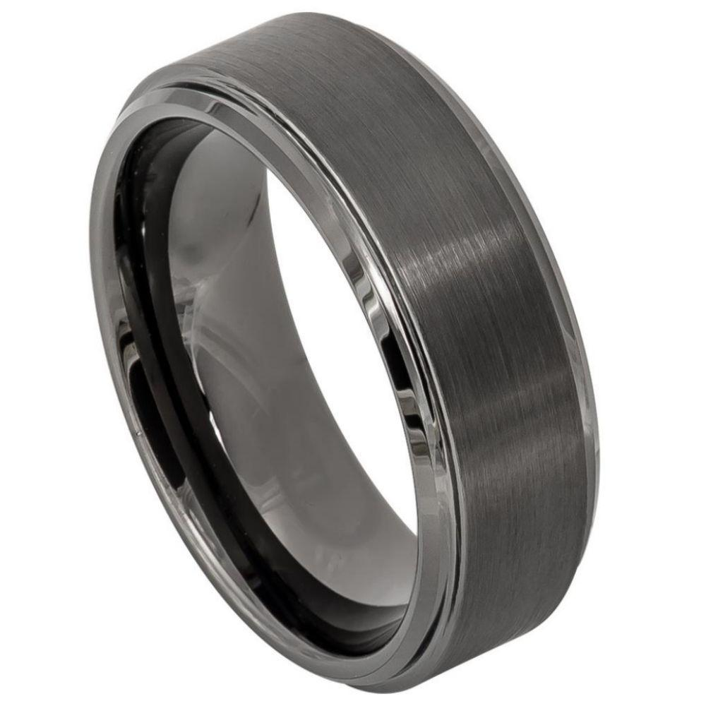 Gun Metal IP Plated Brushed Center High Polish Stepped Edge 8mm