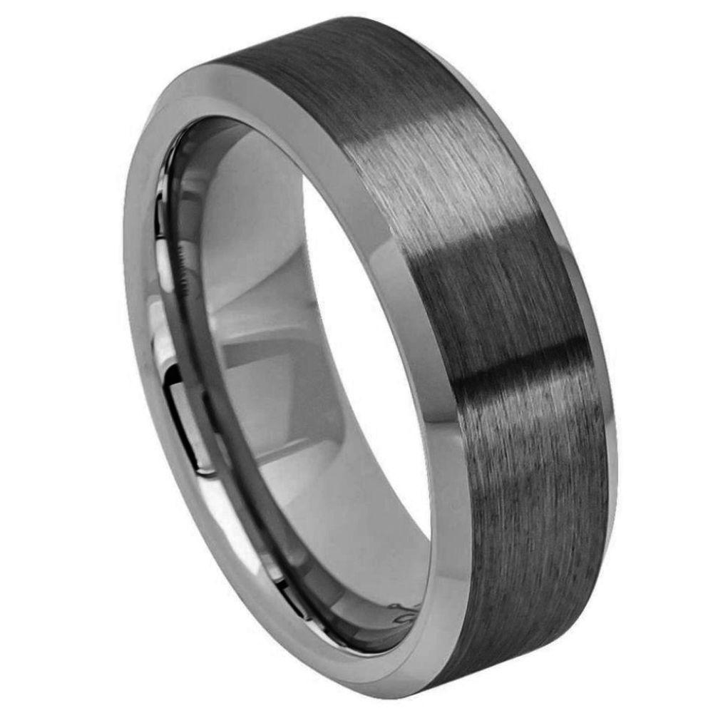 Gun Metal IP Plated Brushed Center Shiny Beveled Edge 8mm