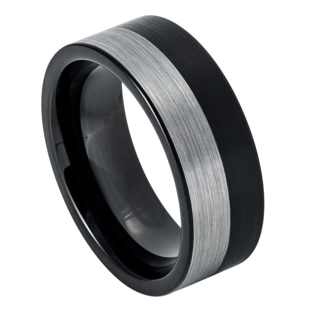 Pipe Cut Two tone Black IP Plated Brushed Night & Day Ring – 8mm