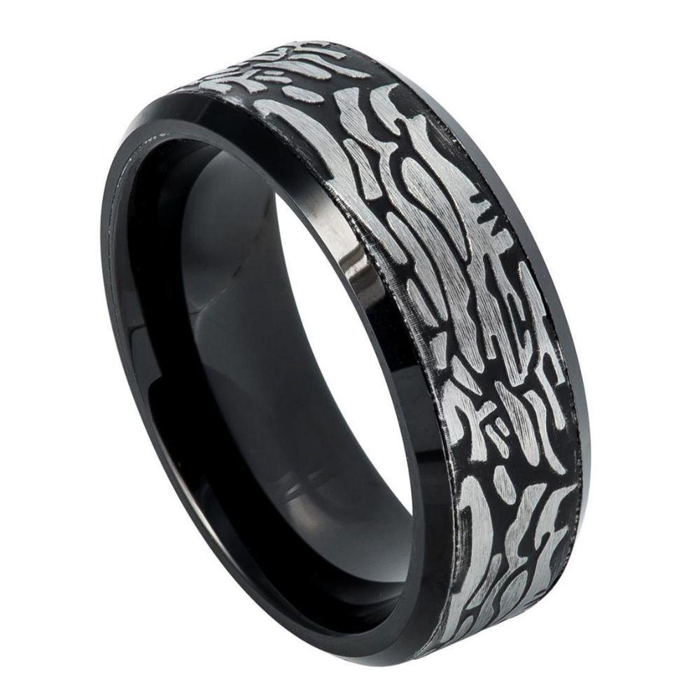 Black IP Plated Ring with Laser Carved Rock Art Pattern – 8mm