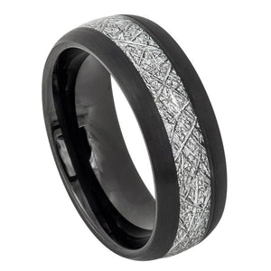 Semi-Domed Black IP Plated with Imitation Meteorite Inlay ��������� 8mm