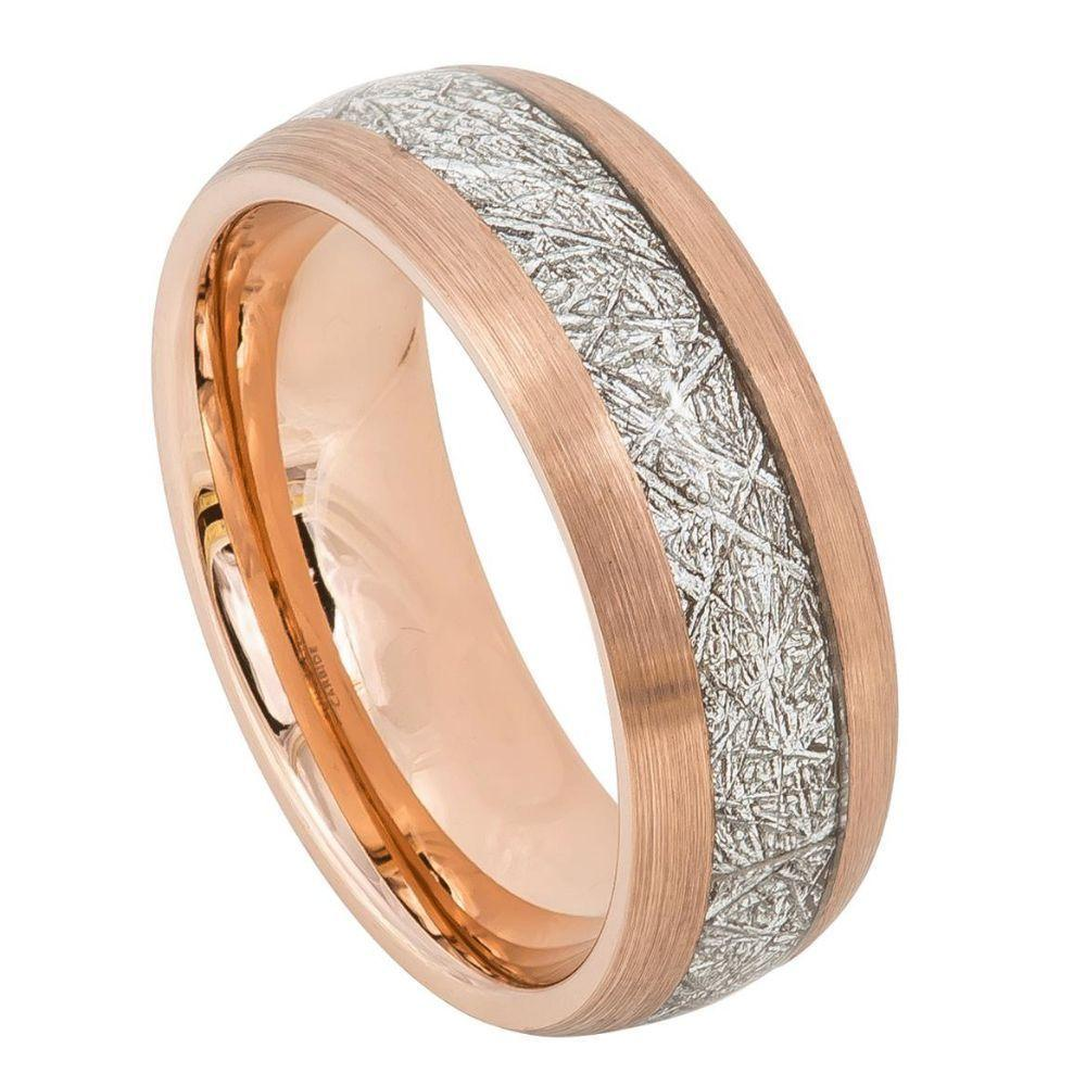 Semi-Domed Rose Gold IP Plated with Imitation Meteorite Inlay – 8mm