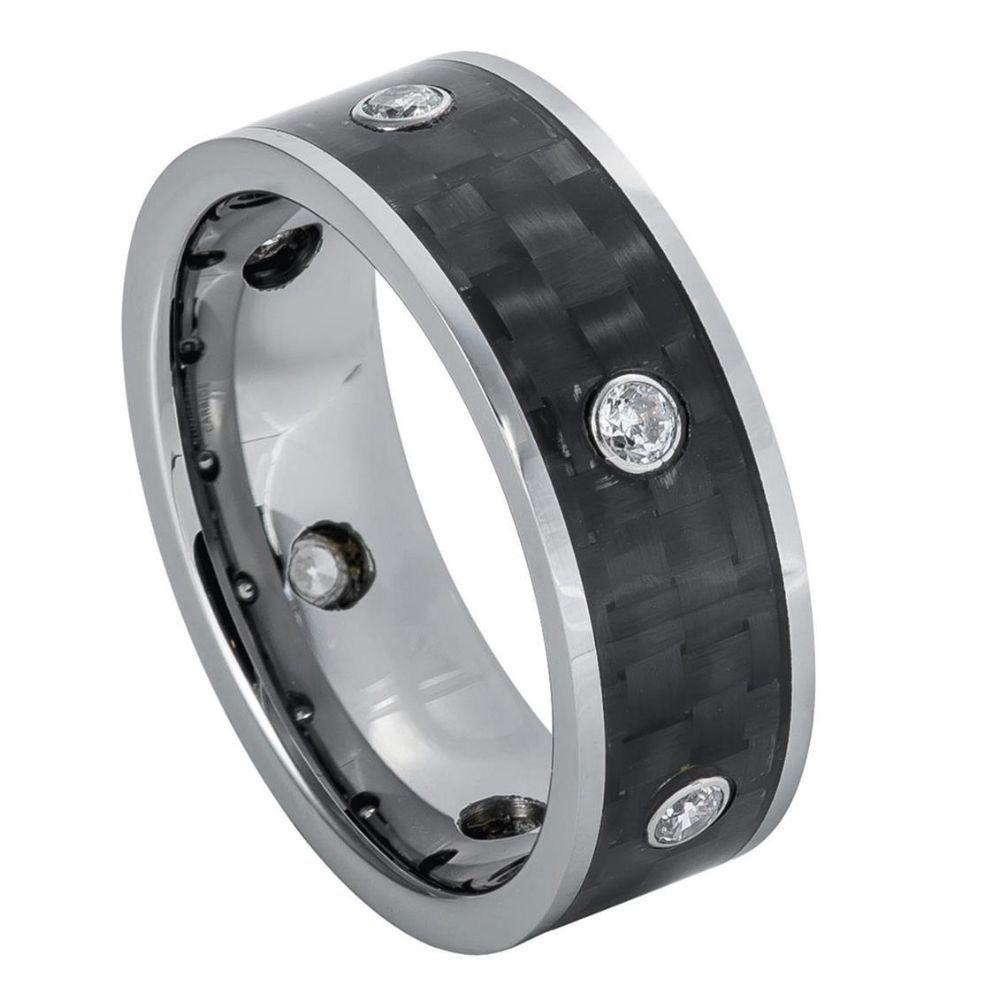 High Polished Pipe Cut Ring with 6 White CZs, bezel-set on Black Carbon Fiber Center – 8mm