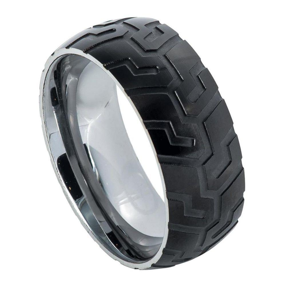 Semi-domed Ring with Black IP Plated with Super Sleek Tire Tread Laser Carved Pattern ��������� 9mm