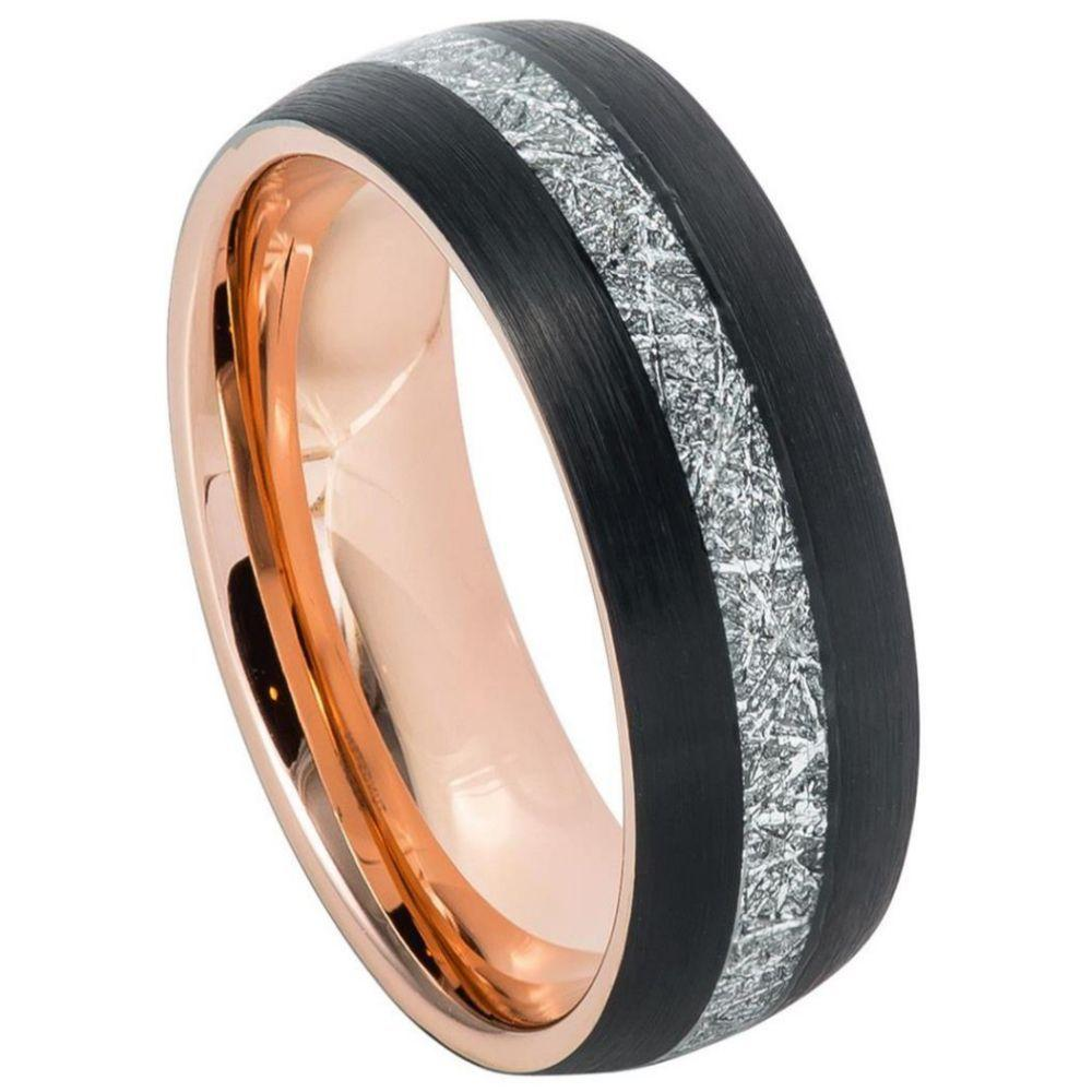 Semi-Domed Rose Gold IP Plated inside & Black IP Plated Outside with Imitation Meteorite Inlay ��������� 8mm