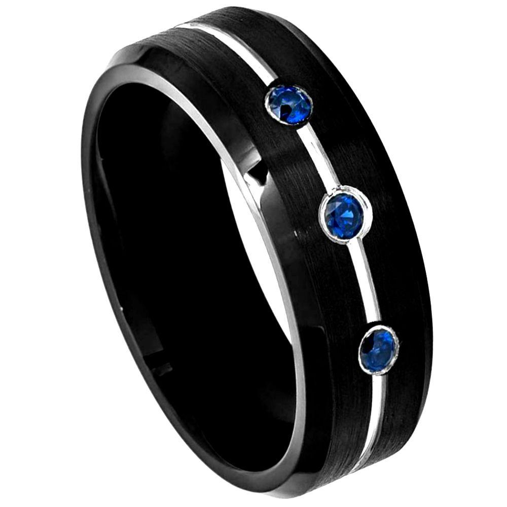 Black IP Ring with Three 0.07ct Blue Sapphires on Grooved Center with High Polished Beveled Edge - 8mm