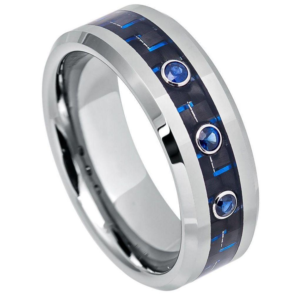 Blue Carbon Fiber Inlay, High Polish Beveled Edge with Three 0.07ct Blue Sapphire Center Stones - 8mm