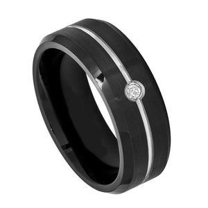 Black IP Ring with 0.07ct & Black Diamond on Grooved Center with High Polish Beveled Edge - 8mm