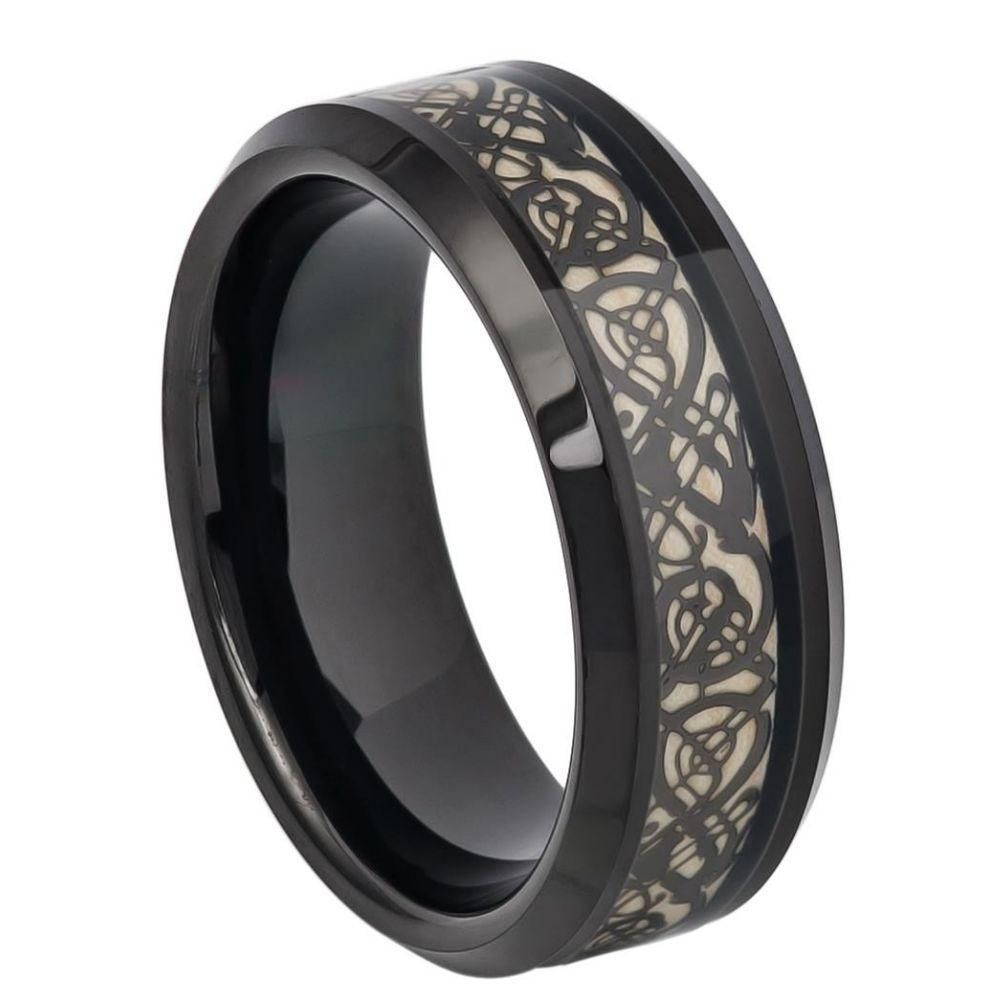 Black IP Celtic Cut-Out Design Inlay - 8mm
