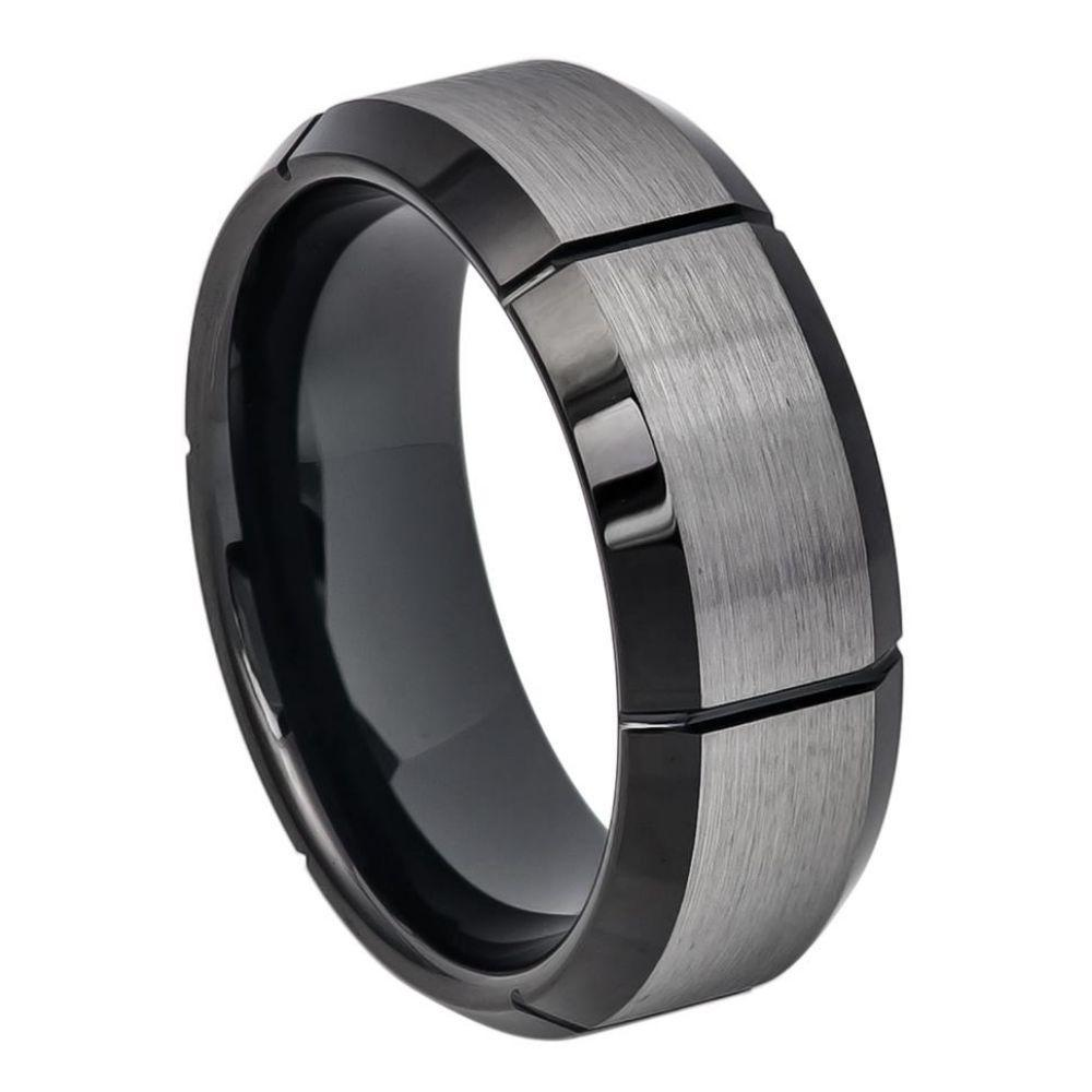 Two-tone Brushed Center with Multiple Vertical Grooves & Black IP Beveled Edge - 8mm