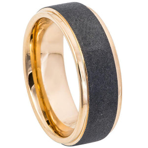 Sandblasted Finish Center Stepped Edge Rose Gold IP Plated - 8mm