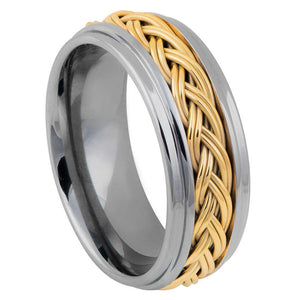 Step Edge with Yellow Gold IP Plated Double Braid Inlay - 8mm