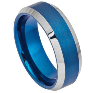 Blue IP Brushed Center High Polish Beveled Edge - 8mm