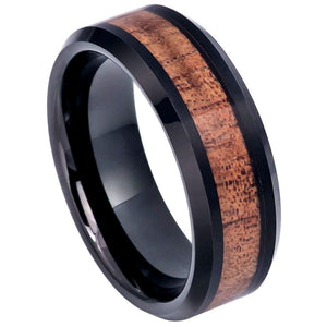 Black IP Plated Beveled Edge with Hawaiian Koa Wood Inlay - 8mm