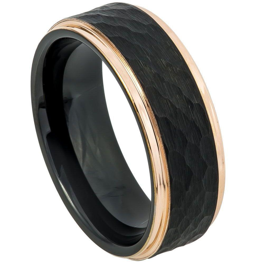 Two-Tone Black & Rose Gold IP Plated Hammered Center - 8mm