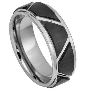 Two-tone Brushed Black IP Plated Trapezoids & High Polished Outlines - 8mm