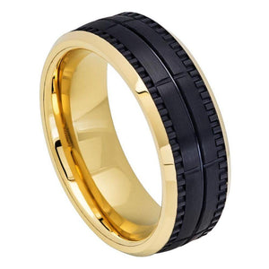 Two-tone Yellow IP Inside & Black IP Outside Brushed Grooved Ring - 8mm