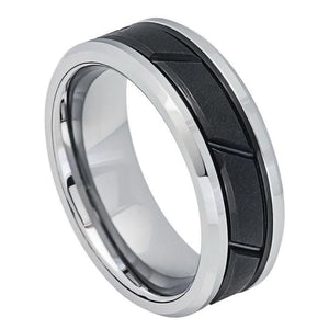 Two-tone Black IP Center with Diagonal Grooves - 8mm