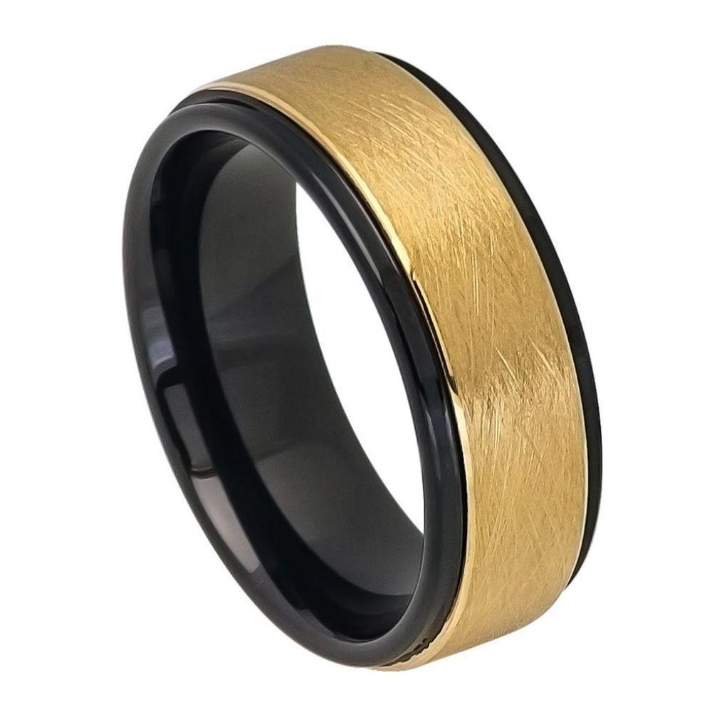 Two-tone Black IP Inside & Yellow Gold IP Ice Finish Center Stepped Edge - 8mm