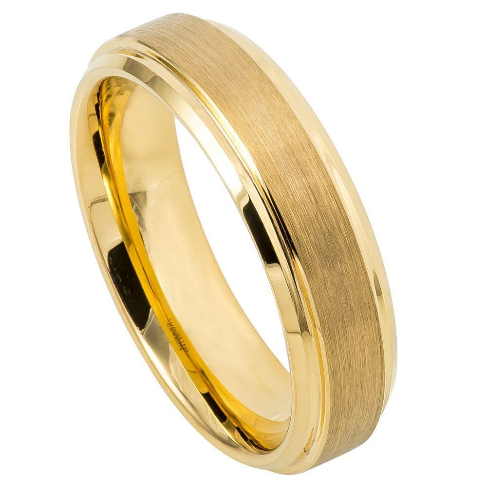 Yellow Gold IP Plated Flat Brushed Center with High Polish Stepped Edge - 6mm