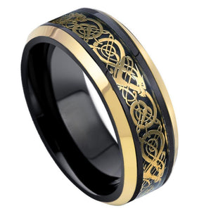 Black & Yellow Gold IP Plated Celtic Inlay - 8mm