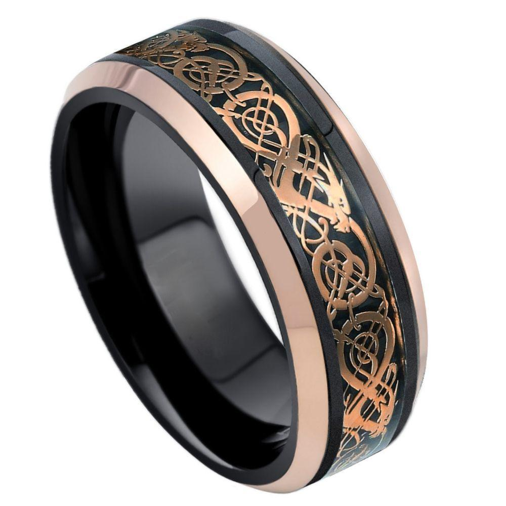 Black & Rose Gold IP Plated Celtic Inlay - 8mm