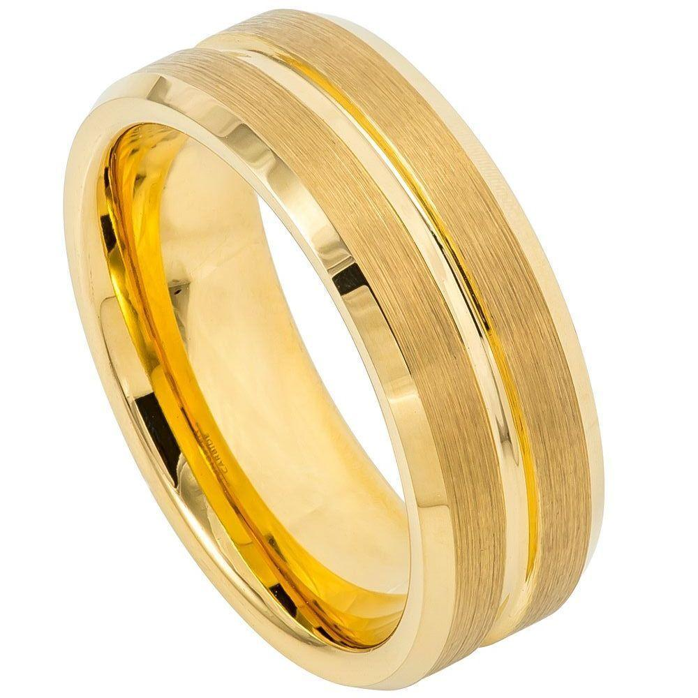 Yellow Gold IP Plated Grooved Center Brushed Beveled Edge - 8mm