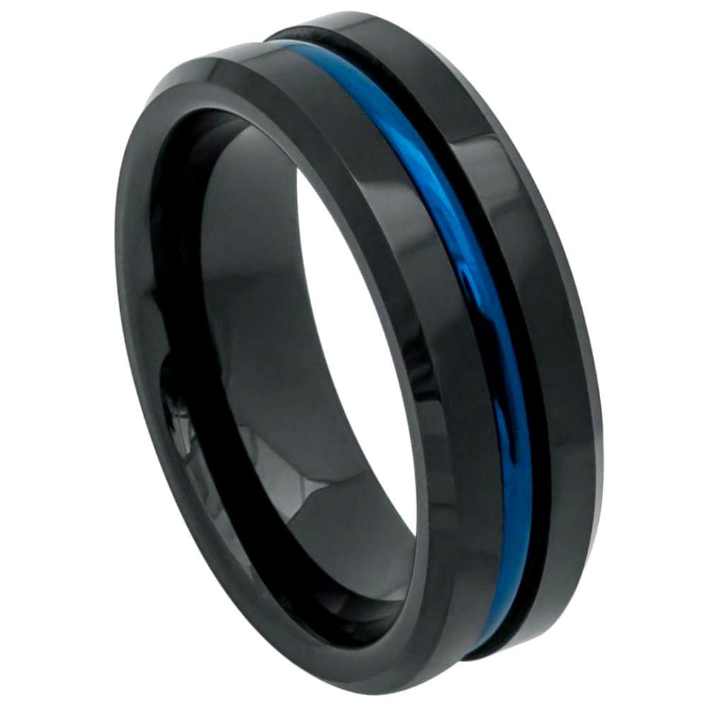 Black IP Plated Ring with Blue IP Plated Grooved Center - 8mm