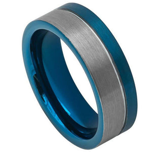 Off-Center Grooved Blue IP Plated Brushed Pipe Cut Ring - 8mm