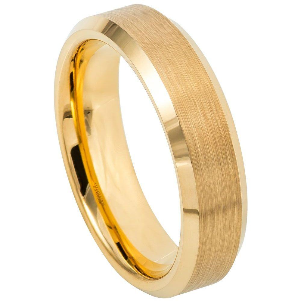 Brush Polished Yellow Gold IP Plated Center & Shiny Beveled Edge - 6mm