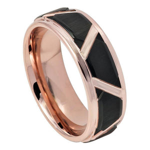 Black I Brushed Trapezoid Center High Polished Rose Gold IP Grooves & Stepped Edge - 8mm
