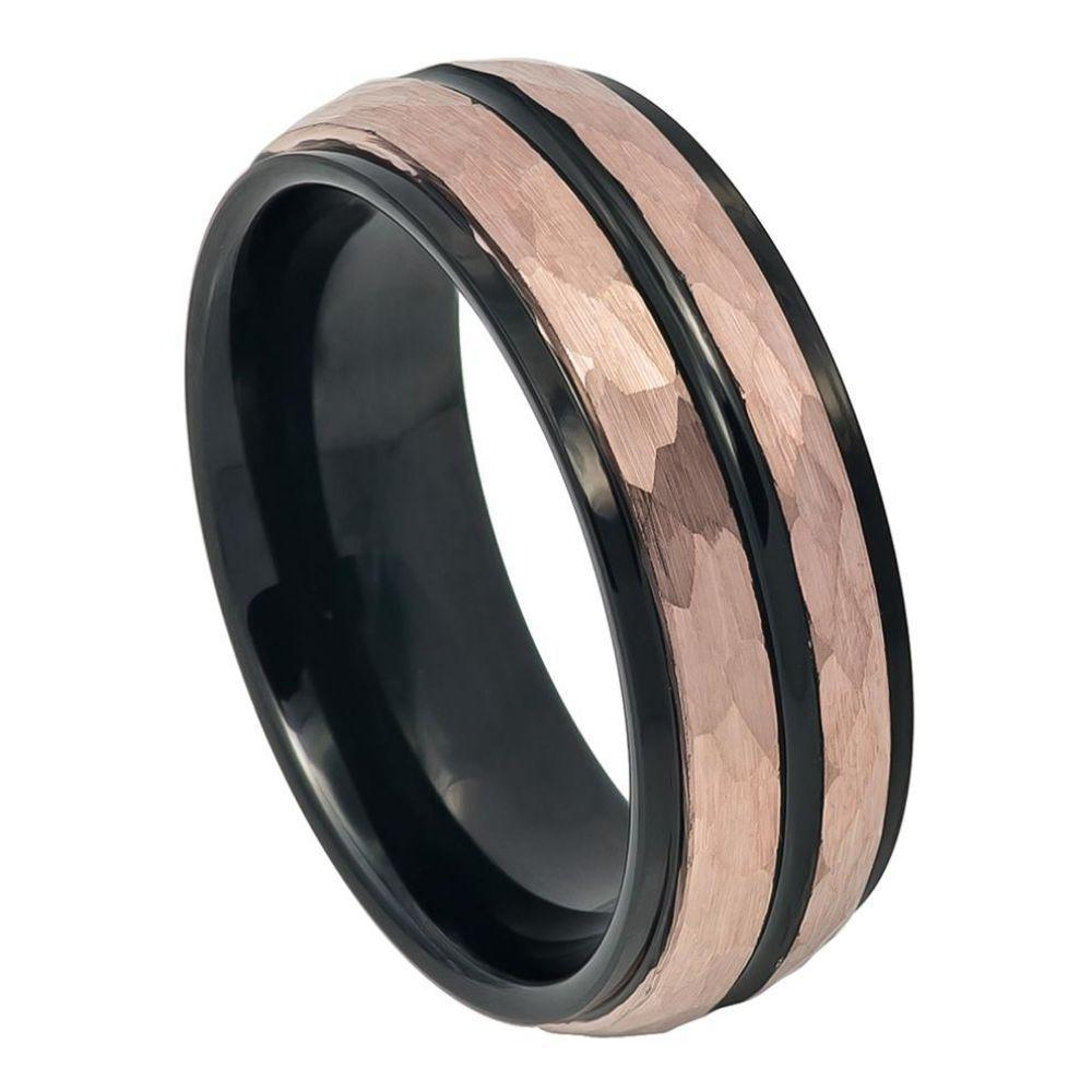 Two-tone Black IP Inside & Rose Gold IP Hammered Finish with Black IP Center Groove Stepped Edge - 8mm