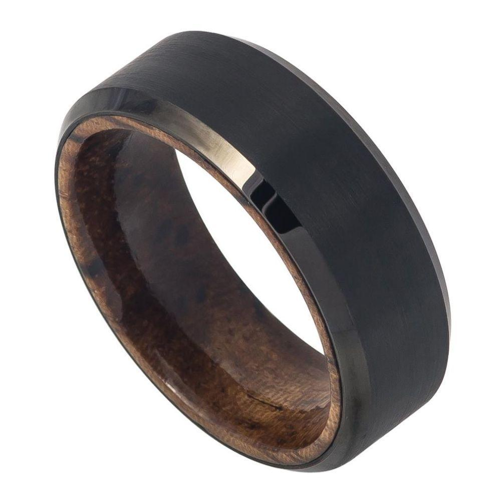 Black IP Plated Brushed Finish African Sapele Wood Sleeve- 8mm