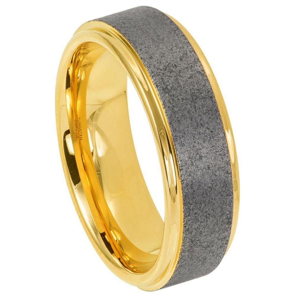 Sandblasted Finish Center Stepped Edge Yellow Gold IP Plated - 8mm