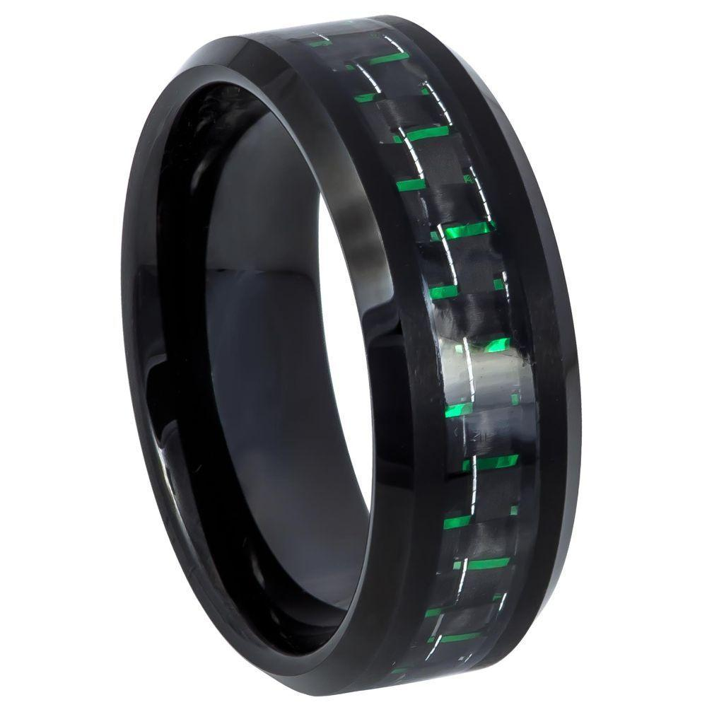 Black IP Plated with Green & Black Carbon Fiber Inlay - 8mm