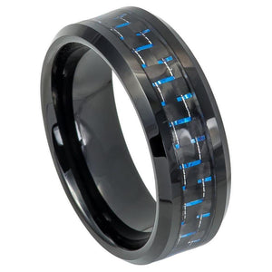 Beveled Edge Black IP Plated with Blue & Black Carbon Fiber Inlay - 8mm