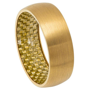 Yellow Gold Tone IP Plated Domed Ring with Golden Carbon Fiber Inlay Inside - 8mm