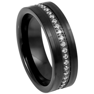 Black IP Plated Prong-set Round-cut White CZ Eternity - 8mm