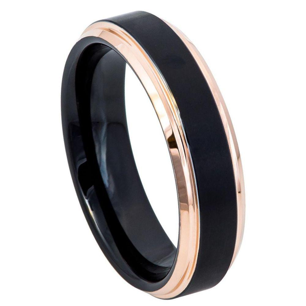 Two-Tone Black & Rose Gold IP Brushed Center Step Edge - 6mm