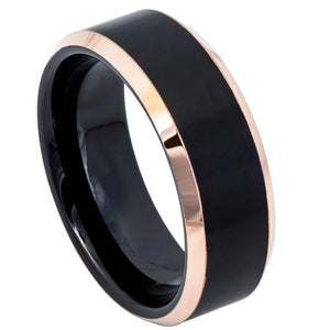 Two-Tone Black & Rose Gold IP Brushed Center Shiny Beveled Edge - 8mm