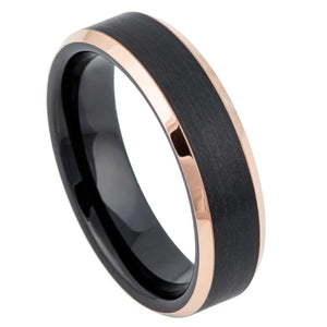 Two-Tone Black & Rose Gold IP Brushed Center - 6mm
