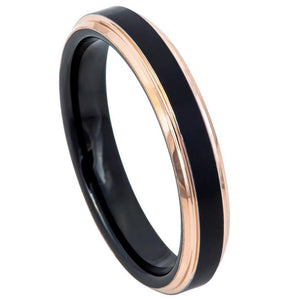 Two-Tone Black & Rose Gold IP Brushed Center Step Edge - 4mm