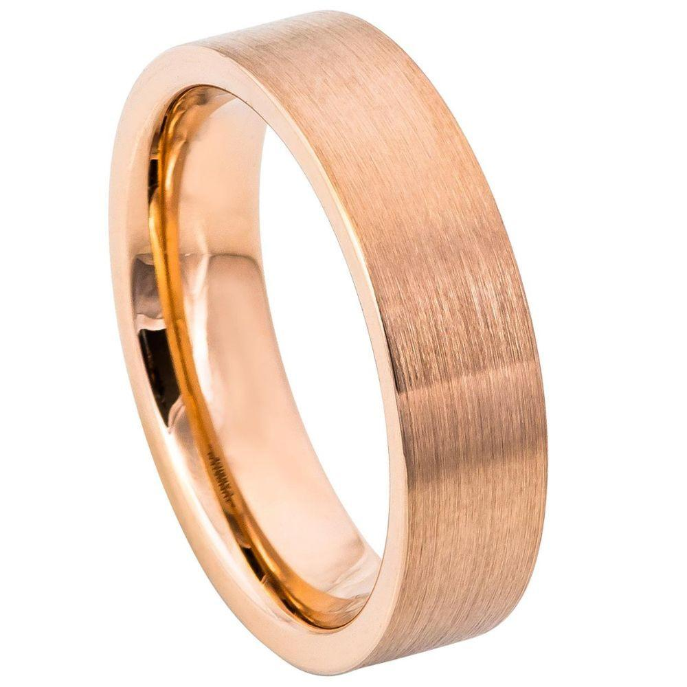 ROSE GOLD IP Plated Brushed Pipe Cut Band - 6mm